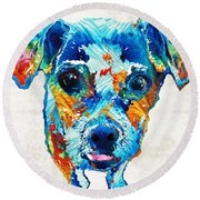 Colorful Little Dog Pop Art By Sharon Cummings Round Beach Towel