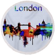 Colorful London Skyline Silhouette Round Beach Towel by Dan Sproul