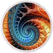Colorful Luxe Fractal Spiral Turquoise Brown Orange Round Beach Towel