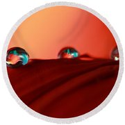 Colorful Macro Water Drops Round Beach Towel