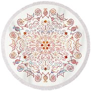 Colorful Mandala On Watercolor Paper Round Beach Towel