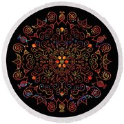 Colorful Mandala With Black Round Beach Towel