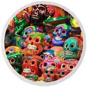 Colorful Mexican Day Of The Dean Ceramic Skulls Round Beach Towel