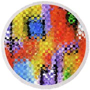 Round Beach Towel featuring the painting Colorful Modern Art - Pieces 11 - Sharon Cummings by Sharon Cummings