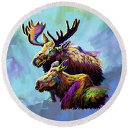 Colorful Moose Round Beach Towel