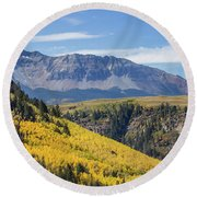 Colorful Mountains Near Telluride Round Beach Towel