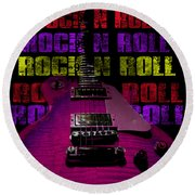 Round Beach Towel featuring the photograph Colorful Music Rock N Roll Guitar Retro Distressed T-shirt by Guitar Wacky