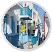 Colorful Mykonos Round Beach Towel by Carla Parris