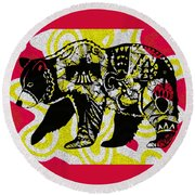Colorful Native Black Bear Round Beach Towel