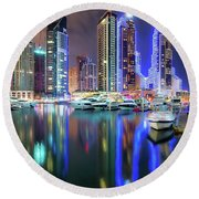 Colorful Night Dubai Marina Skyline, Dubai, United Arab Emirates Round Beach Towel