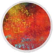 Round Beach Towel featuring the painting Colorful Night by Nancy Merkle