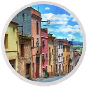 Colorful Old Houses In Tarragona Round Beach Towel