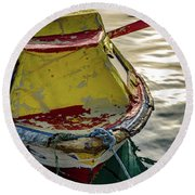 Colorful Old Red And Yellow Boat During Golden Hour In Croatia Round Beach Towel