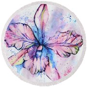 Colorful Orchid Flower Round Beach Towel