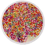 Round Beach Towel featuring the painting Colorful Organza by Natalie Holland