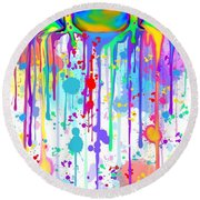 Colorful Painted Frog  Round Beach Towel