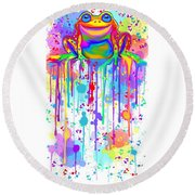 Round Beach Towel featuring the painting Colorful Painted Frog  by Nick Gustafson