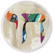 Colorful Painting Chai- Art By Linda Woods Round Beach Towel by Linda Woods