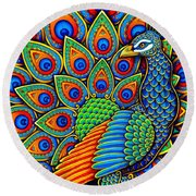 Colorful Paisley Peacock Round Beach Towel