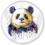 Round Beach Towel featuring the mixed media Colorful Panda Head by Marian Voicu