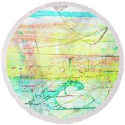 Colorful Pastel Art - Mixed Media Abstract Painting Round Beach Towel