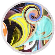 Colorful Pastel Swirls Round Beach Towel