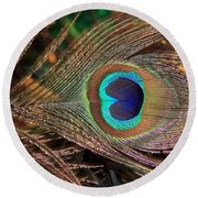 Colorful Peacock Feather Round Beach Towel