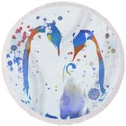 Round Beach Towel featuring the painting Colorful Penguin Family by Dan Sproul