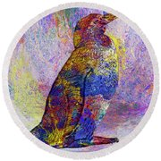 Colorful Penguin Round Beach Towel