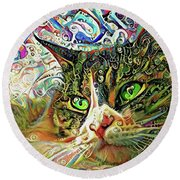 Colorful Persian Cat Art Round Beach Towel by Peggy Collins
