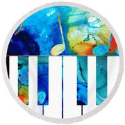 Colorful Piano Art By Sharon Cummings Round Beach Towel