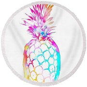 Colorful Pineapple Round Beach Towel by Dan Sproul