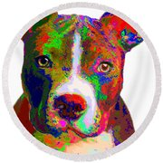 Colorful Pit Bull Terrier  Round Beach Towel