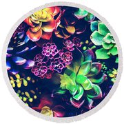 Colorful Plants  Round Beach Towel