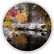 Colorful Pond Round Beach Towel