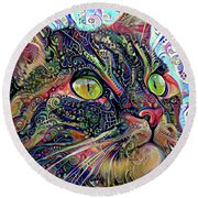 Colorful Psychedelic Cat Art Round Beach Towel