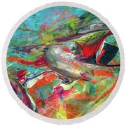 Colorful Puffin Bird Art - Happy Abstract Animal Birds Painting Round Beach Towel