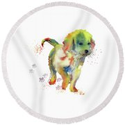 Colorful Puppy Watercolor - Little Friend Round Beach Towel by Melly Terpening