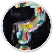 Colorful Questions- Abstract Painting Round Beach Towel