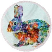 Colorful Rabbit Art Round Beach Towel