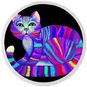 Colorful Rainbow Kitty Round Beach Towel