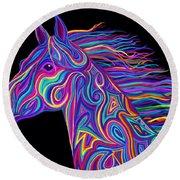 Colorful Rainbow Stallion  Round Beach Towel