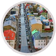 Colorful Reykjavik Iceland 7276 Round Beach Towel