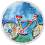 Colorful Ride- Bike Art By Linda Woods Round Beach Towel