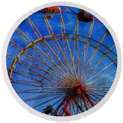 Colorful Ride Round Beach Towel by Sherman Perry