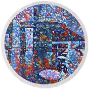 Round Beach Towel featuring the painting Colorful Rock And Roll Hall Of Fame Museum by Dan Sproul