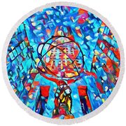Round Beach Towel featuring the painting Colorful Rockefeller Center Atlas by Dan Sproul