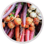 Colorful Root Vegetables Round Beach Towel by GoodMood Art