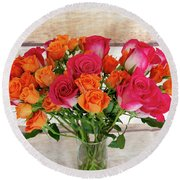 Colorful Rose Bouquet Round Beach Towel