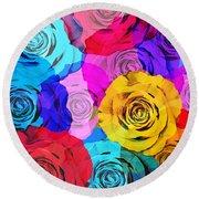 Colorful Roses Design Round Beach Towel